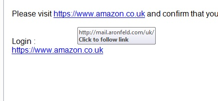 Example of Hovering over a link in an email