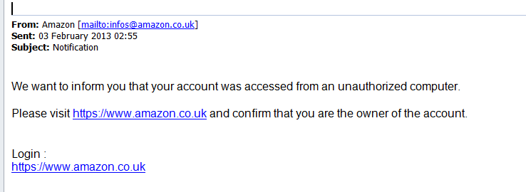 Example of Mysterious Amazon E-Mail