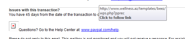 PayPal E-Mail Hover Link showing suspicious URL