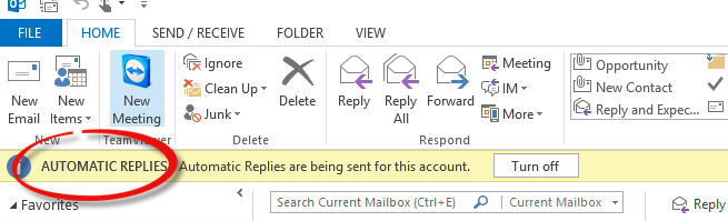 Outlook - Automatic Replies being sent