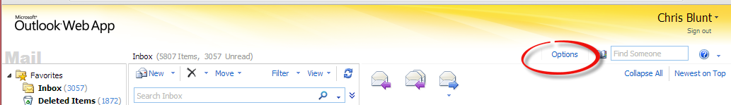 Outlook Web Access - Options - out of Office